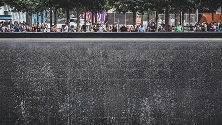 New York, USA / Circa 2017 / People at National September 11 Memorial