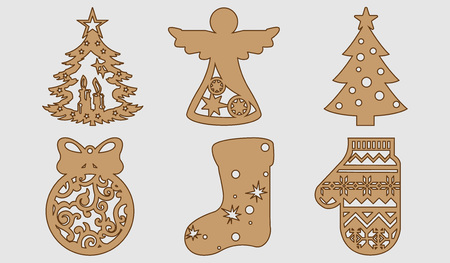 New Years set in a wooden style. Ornaments for your Christmas tree. Vector illustration. Ilustrace