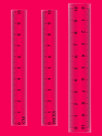 School of measuring plastic strap of 10 centimeters in colorless color. Vector illustration isolated on the background