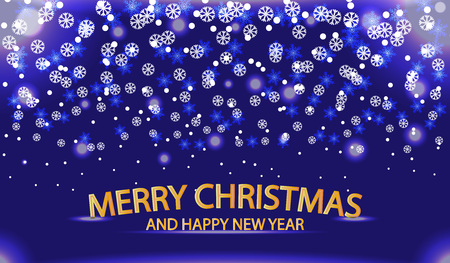 Christmas and New Year with a winter landscape with snowflakes, light. Merry Christmas card. Vector illustration
