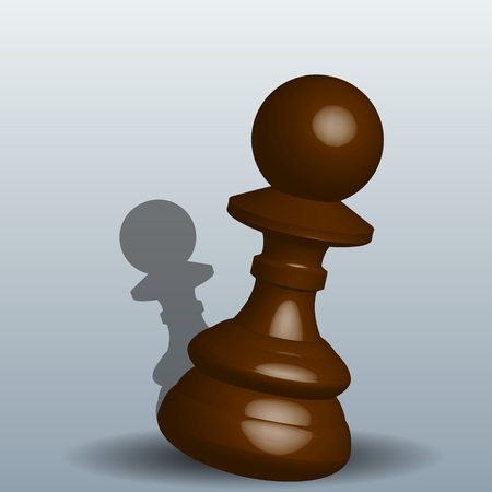 Chess pawn - vector illustration with a shadow on a gray background