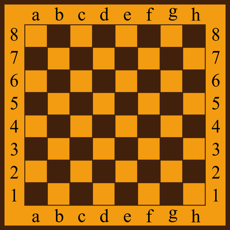 Vector illustration of a chessboard. Yellow and brown cells Ilustração