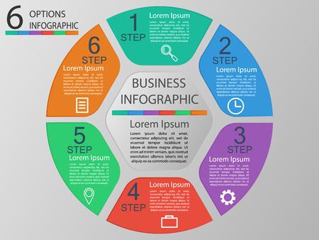 Vector illustration infographics 6 options. Template for brochure, business, web design eps 10.