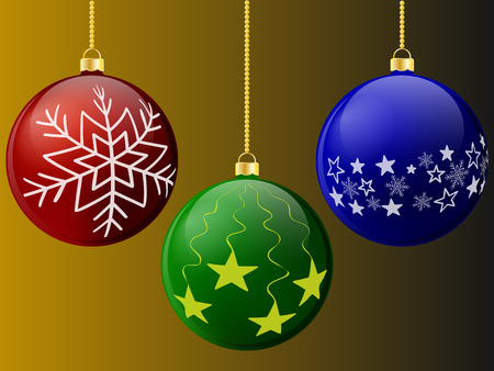 Christmas balls of red green and blue with patterns on the background.Vector illustration.eps 10. Ilustração