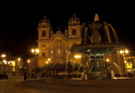 catholocism: the central area of the city of Cuzco in night