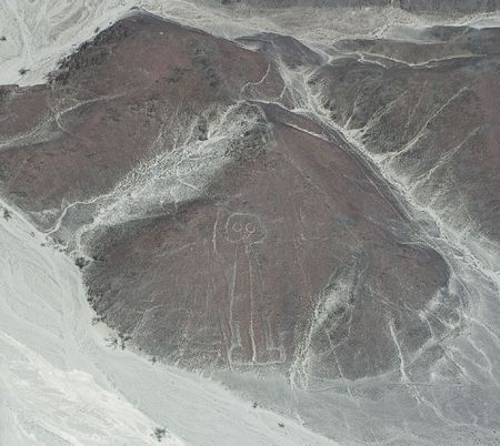 drawing in the Nazca Desert, view from airplane photo