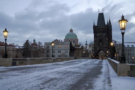 prague castle: Czech Republic, Prague, winter, snow, Charles Bridge with illuminated