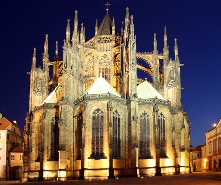 vitus: St. Vitus Cathedral with illuminated at night Stock Photo