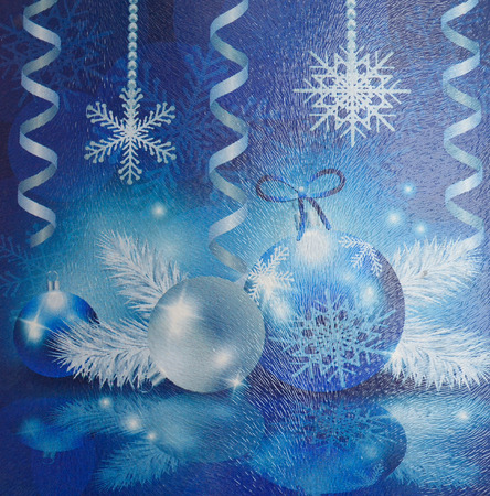 fluted: Christmas collage on fluted glass. Snowflakes, balls, streamers. Stock Photo