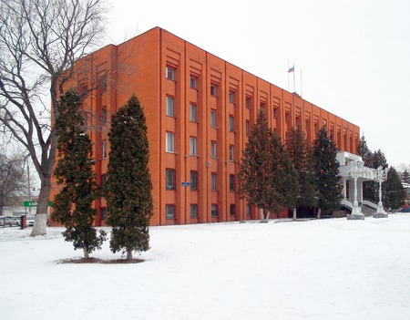 snow falls: OREL, RUSSIA - JANUARY 22, 2015: District Administration in the city of Orel. Snow falls.