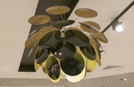 electric fixture: Beautiful chandelier made of transparent plates made of dark glass