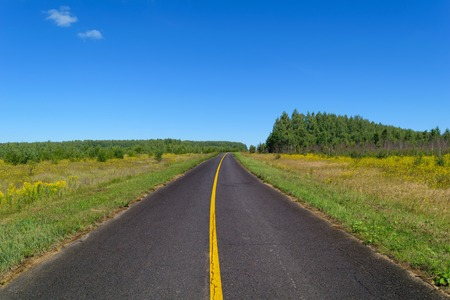 markings: Country asphalt highway with one line of solid yellow road markings