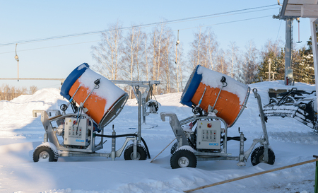 gorki: Orel, Russia - January 10, 2016: Snow guns - a powerful system of snowmaking for ski slopes, trails and sporting facilities - parked in the ski park Gorki