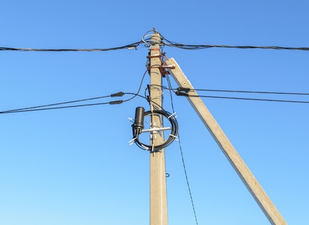 Reinforced concrete supports of overhead power lines and communication cables.