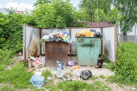 Orel, Russia - June 02, 2016: Garbage in the trash containers near the entrance to the Center for Hygiene and Epidemiology in the Oryol region Stock Photo