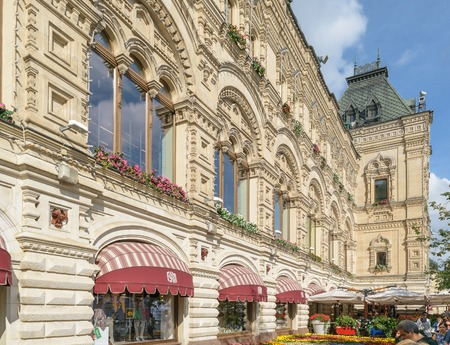 Moscow, Russia - July 07, 2016: Facade of the GUM building on Red Square Editorial