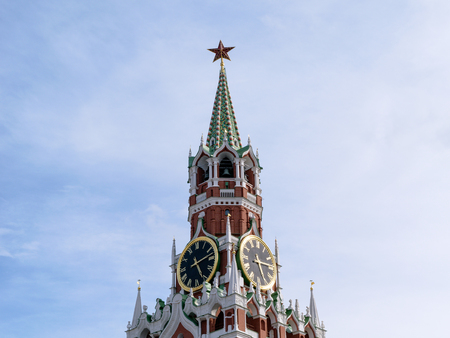 spassky: Moscow, Russia - July 07, 2016: Chimes and Courant (huge clock) on the Spassky Tower of Kremlin Stock Photo