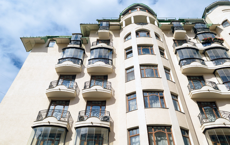 Moscow, Russia - July 14, 2016: Wall of beautiful apartment building