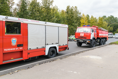 Orel, Russia - September 27, 2016: Fire trucks stand on the road Editorial