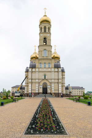 Orel, Russia - July 01, 2017: The temple in honor of the Meeting of the Lord, with the lower Limit of Sergius of Radonezh, on the territory of the Spiritual Orthodox Center in the village of Vyatsky Posad. Editorial