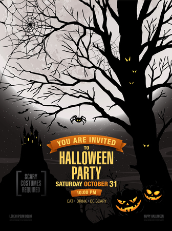 besom: Halloween party. Vector illustration