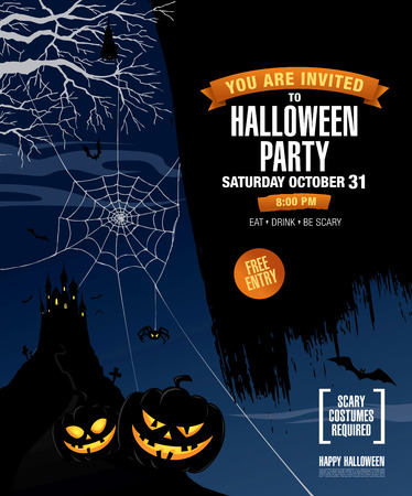 dry flies: Halloween party poster. Vector illustration Illustration