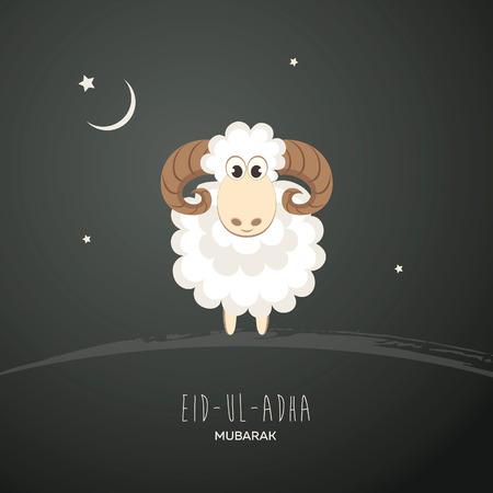 Greeting card for Muslim Community Festival of Sacrifice Eid-Ul-Adha. Vector illustration