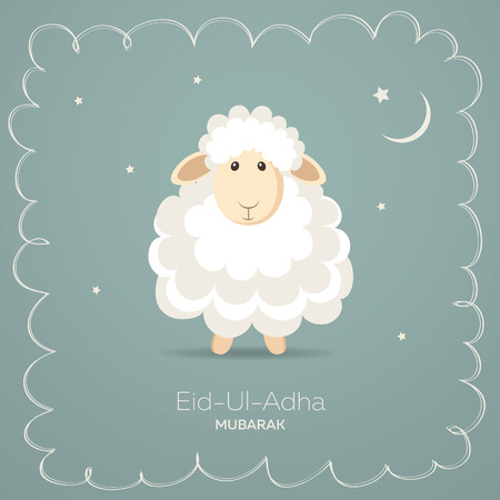 ram horn: Greeting card for Muslim Community Festival of Sacrifice Eid-Ul-Adha. Vector illustration
