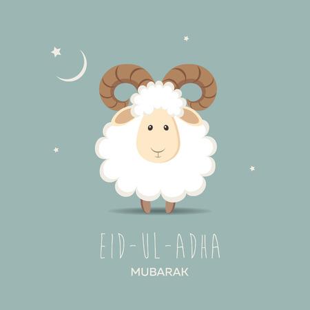 Wenskaart voor Moslim Gemeenschap Offerfeest Eid-Ul-Adha. vector illustratie