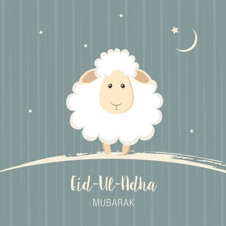 sacrifice: Tarjeta de felicitación para los musulmanes Festival de la Comunidad del Sacrificio Eid'ul Adha. ilustración vectorial Vectores