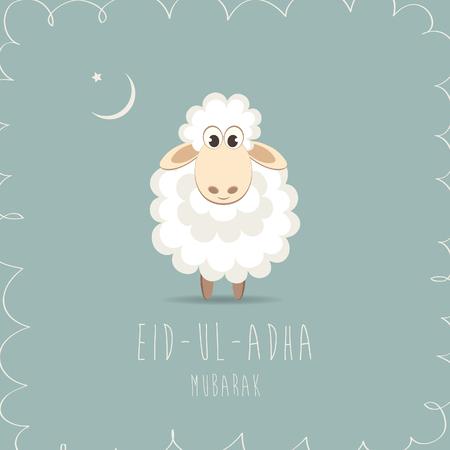 sacrificio: Tarjeta de felicitación para los musulmanes Festival de la Comunidad del Sacrificio Eid'ul Adha. ilustración vectorial Vectores