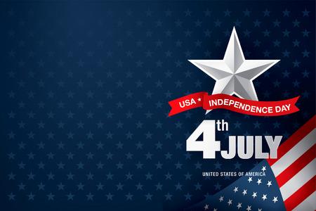 Unabhängigkeitstag 4. Juli. Fröhlichen Unabhängigkeitstag Vektorgrafik