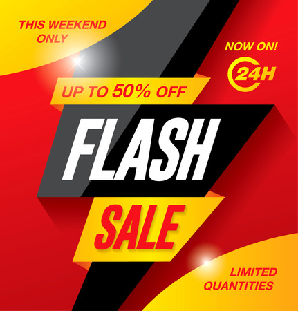sales occupation: Flash sale banner template design Illustration