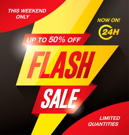 Flash sale banner template design Ilustração