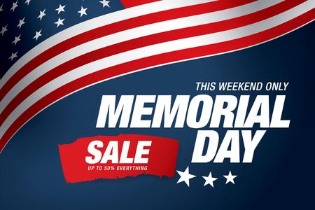Memorial day sale banner template design Illustration
