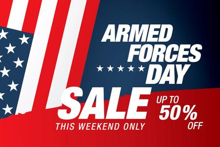 Armed forces day sale banner template design Vektoros illusztráció