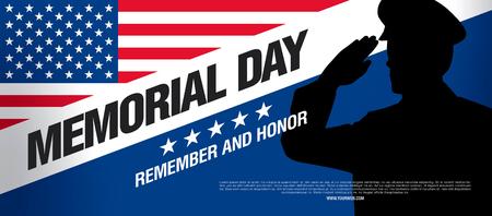 阵亡将士纪念日。记得和荣誉。矢量图