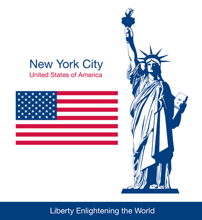 labor policy: The Statue of Liberty and flag of the United States. Vector illustration Illustration