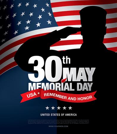 recordar: Memorial Day. Recordar y honor. ilustración vectorial