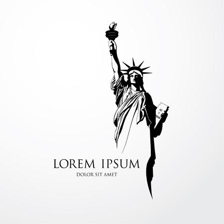 The Statue of Liberty. Vector illustration Çizim