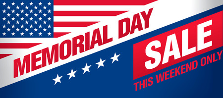 Memorial day sale banner template design Иллюстрация