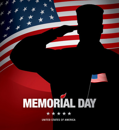 red america: Memorial day. Remember and honor. Vector illustration