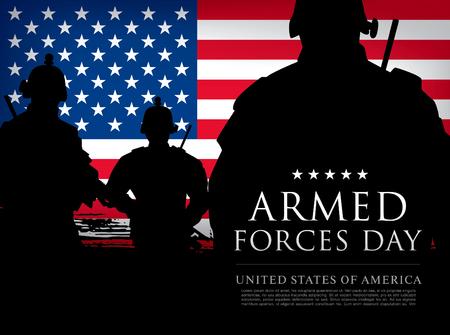 fuerzas armadas plantilla del día de diseño del cartel