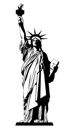 The Statue of Liberty. Vector illustration Ilustração
