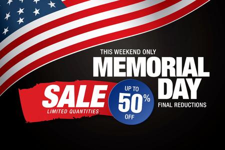 Memorial Day verkoop banner template design Stock Illustratie