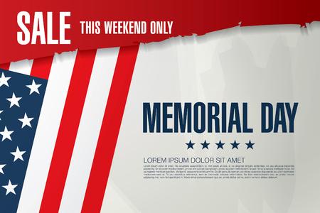 Memorial day sale banner template design