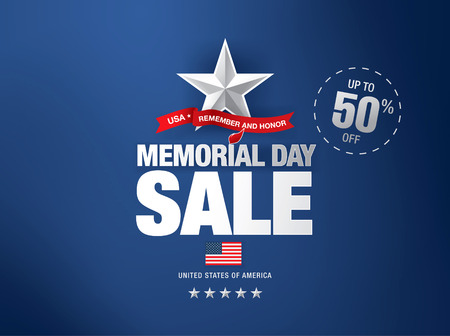 Memorial day sale banner template design Ilustrace