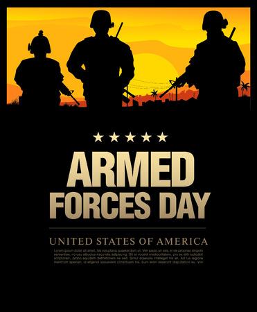 Les forces armées modèle de jour poster design