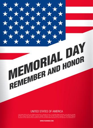 remember: Memorial Day. Recordar y honor. ilustración vectorial