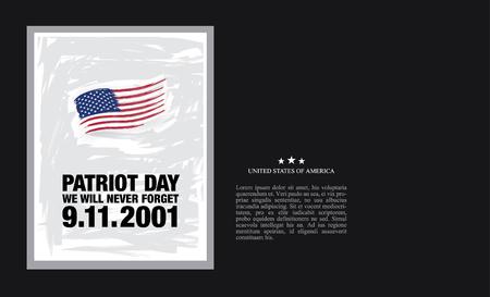 mourn: Patriot Day. September 11. We will never forget Illustration